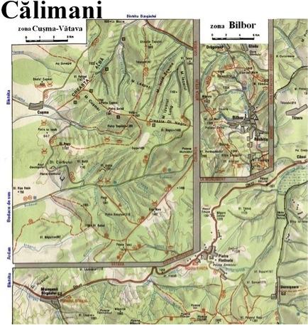 Harta Muntii Calimani Din Lantul Carpatilor Orientali Harta Online