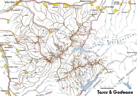 Harta Cu Muntii Tarcu Si Godeanu Din Romania Din Vestul Carpatilor